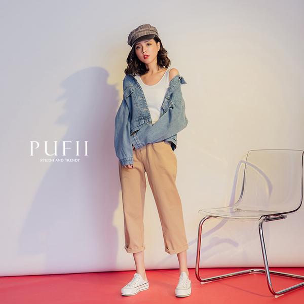PUFII-外套 雙口袋車線造型牛仔外套-0919 現+預 秋【CP17235】