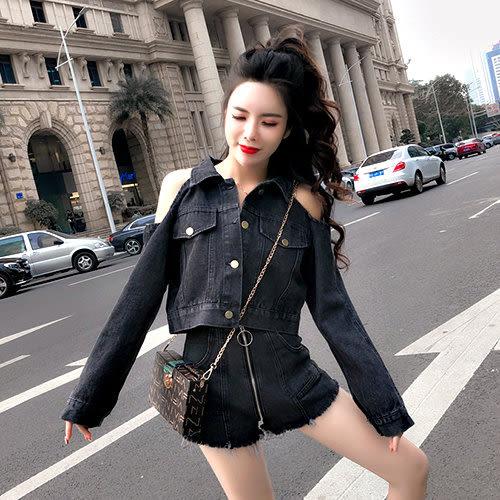 克妹Ke-Mei【AT54167】歐洲站 軍風圓杯拉鍊高腰牛仔短褲+釘釦牛仔外套套裝