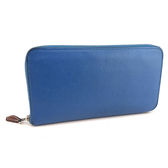 【奢華時尚】秒殺推薦!HERMES X刻印-藍色牛皮經典拉鍊絲巾長夾(八五成新)#23715