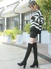 膝上靴 新款長筒女靴中跟過膝靴網紅瘦瘦彈...