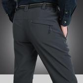 衝鋒褲 男士戶外沖鋒運動褲登山軟殼速干褲秋冬寬松加絨加厚彈力防風防水