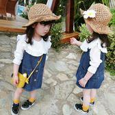 女童裝春裝韓版兒童牛仔背帶裙女寶寶春秋款小孩公主裙子1-2345歲  無糖工作室