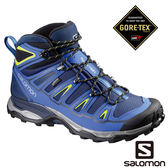 Salomon 男 X ULTRA  2 GTX中筒登山鞋-海軍藍/螢光綠 L39039100【GO WILD】