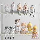 北歐創意可愛動物吊腳娃娃客廳小擺件家居飾品【櫻田川島】
