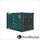ForHome 工業風 英倫 復古仿舊 手工鐵件 貨櫃 集裝箱 造型存錢筒 綠色