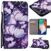紫蝴蝶 IPhone X 彩繪手機殼 蘋果 6/6s 個性創意保護套 蘋果 X 個性 7/8 Plus 彩繪翻蓋手機套
