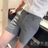 三分褲男士夏季新款韓版修身小西褲英倫型男側開叉超短褲男小時光生活館