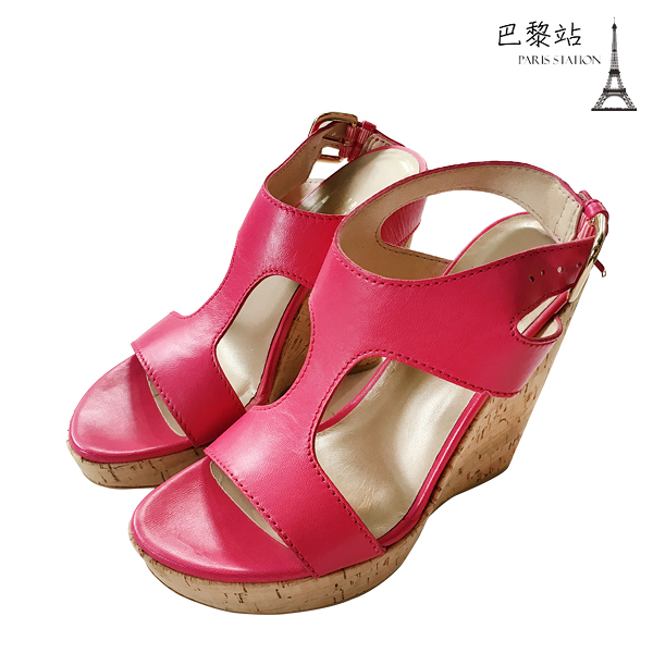 【巴黎站二手名牌專賣店】*全新現貨*Stuart Weitzman 真品*桃紅色涼鞋/楔型鞋(35~35.5號)