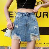 夏季韓版大尺碼短裙 高腰a字牛仔短裙褲女 顯瘦毛邊破洞包臀半身裙潮