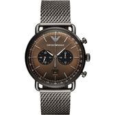 Emporio Armani Dress 亞曼尼計時手錶-咖啡x鐵灰42mm AR11141
