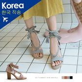 跟鞋.絨質編織辮帶繞踝高跟涼鞋(黑、灰)-FM時尚美鞋-韓國精選.daily