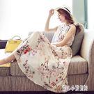 印花洋裝夏季新款中長款雪紡連身裙女裝碎花...