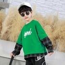男童T恤 假兩件T恤兒童春裝洋氣上衣2021新款外貿潮衣大童韓版打底衫【牛年大吉】