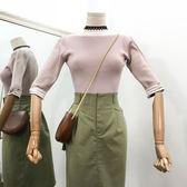 港味百搭修身顯瘦上衣新款條紋韓版甜美氣質針織衫女