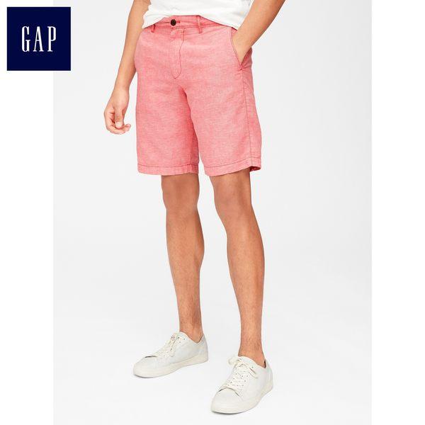 Gap男裝 舒適棉麻混紡斜紋短褲 440803-紅色青年布