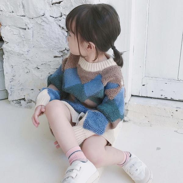 女童撞色套頭毛衣 兒童圓領針織上衣