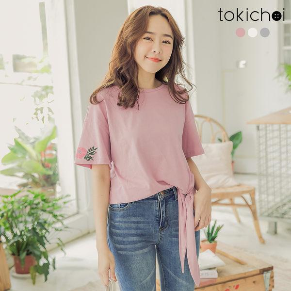 東京著衣-tokichoi-個性少女多色刺繡設計側蝴蝶結綁帶上衣-S.M.L(182650)