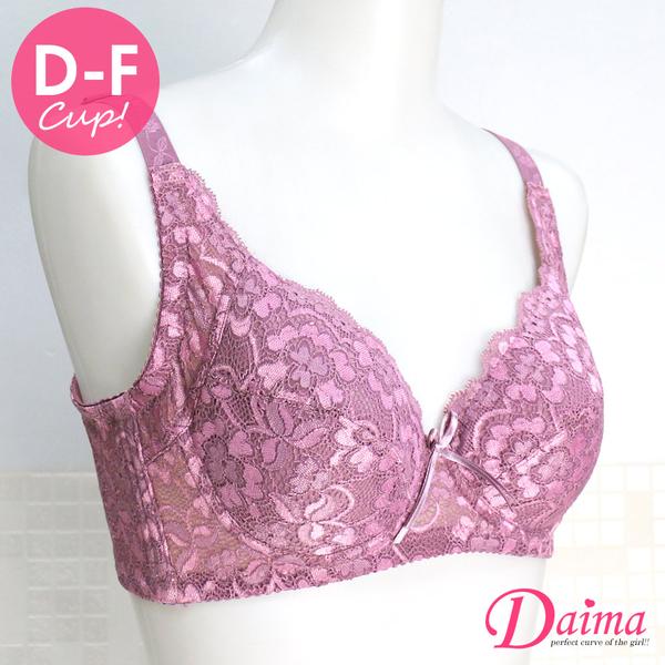 黛瑪Daima 內衣 台灣製 大尺碼(D-F)軟杯全包覆協邊加高透氣舒適內衣 (薰衣紫)T2758