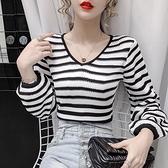 2021早秋新款韓版修身顯瘦短款寬鬆條紋針織衫v領長袖t恤上衣女潮 Korea時尚記
