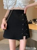 A字裙黑色交叉綁帶不規則半身裙女夏季2020新款潮裙子包臀高腰a字短裙 伊蒂斯