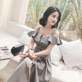 一件免運-洋裝2018夏裝新品韓版一字露肩連身裙女裝夏季吊帶裙子chic復古a字裙S-Lxw