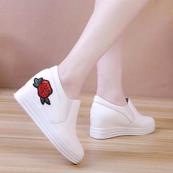 樂福鞋 內增高樂福鞋女夏百搭繡花懶人一腳蹬鞋子厚底小白鞋休閑單鞋