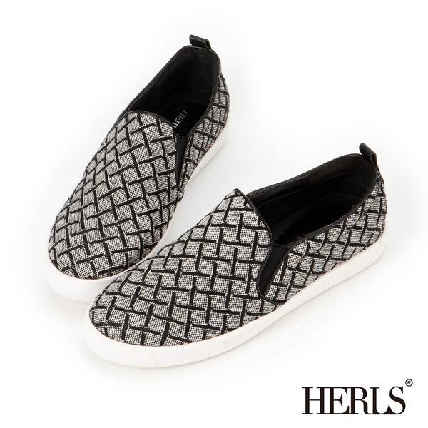 休閒鞋-HERLS 經典獨家 懶人休閒鞋-黑白格紋