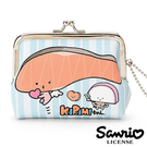 【日本進口正版】KIRIMI醬 鮭魚醬 皮質 珠扣包 零錢包 卡片包 收納包 三麗鷗 Sanrio 546277