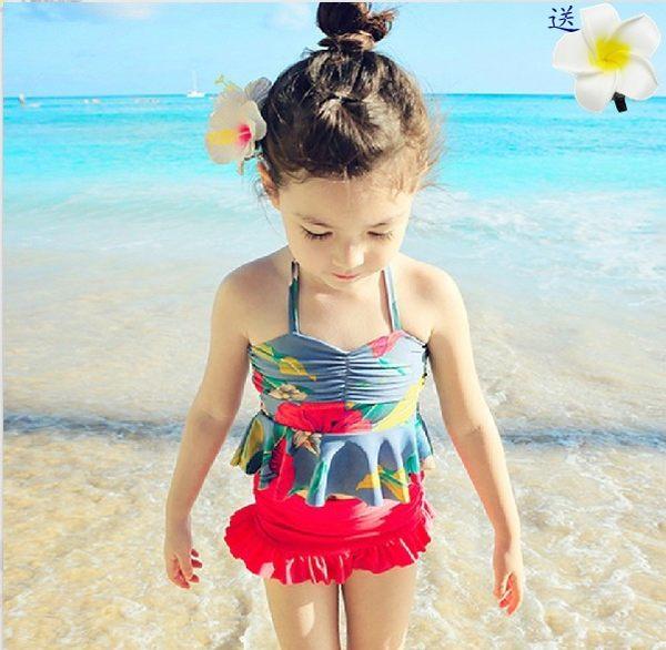 韓國兒童泳衣女童游泳衣中大童比基尼分體裙式泳裝女孩公主寶寶  巴黎街頭