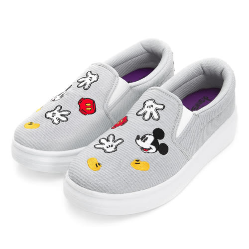 Disney 淘氣米奇 造型電繡銀蔥懶人鞋