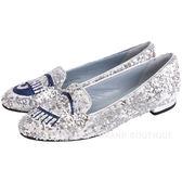 Chiara Ferragni Flirting 眨眼圖案立體縫製亮片樂福鞋(銀色) 1630140-30