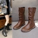 中筒靴 女2021秋冬新款長靴ins網紅瘦瘦馬靴不過膝平底長筒靴 8號店