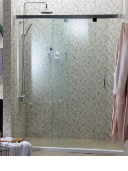 【麗室衛浴】B-048 無框一字二門橫推式淋浴拉門 (亮鉻色) 150*197cm
