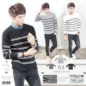。SW。正韓 韓國製 修身 細緻觸感佳 防皺 彈性針織 雙線橫條 素面 圓領針織衫毛衣長袖T【K11505】