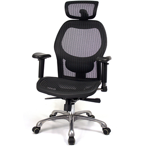 aaronation愛倫國度 透氣頭枕尼龍網鋁合金五爪腳主管椅(i-2