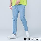 【OBIYUAN】牛仔褲 素面 鬆緊抽繩 彈性 單寧長褲 3色【HK5008】