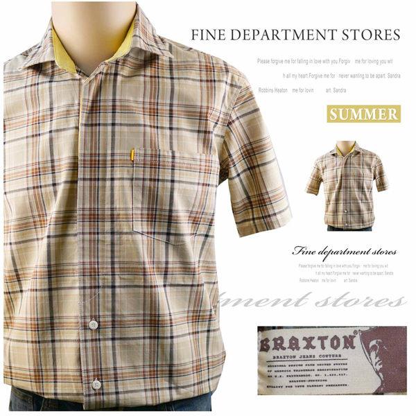 【大盤大】BRAXTON 男 短袖襯衫 格紋襯衫 M號 翻領棉衫 百貨原裝 禮物 口袋上衣 情人節 禮物