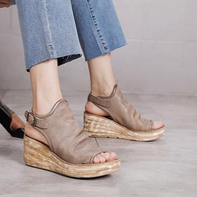 真皮手工女鞋 魚嘴涼鞋 坡跟厚底涼鞋/2色-夢想家-標準碼-0401