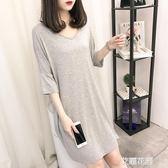 韓版加大碼女夏季性感短袖睡裙莫胖MM睡衣寬鬆家居服『艾麗花園』