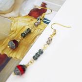 【粉紅堂 飾品】氣質古董珠珠長耳環 *紅色*