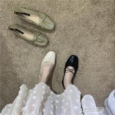 樂福鞋森女風超纖軟皮細松緊交叉軟底平底低幫鞋單鞋樂福鞋 原本良品