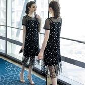 大尺碼洋裝 女裝網紗連身裙2019夏裝 200斤寬鬆遮肚長裙子 超值價