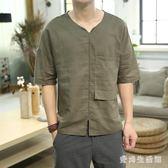 棉麻上衣大碼男士短袖t恤中國風亞V領寬鬆男裝 QX2796 『愛尚生活館』
