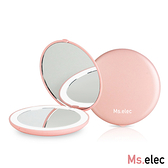 Ms.elec米嬉樂 LED迷你補光化妝鏡 櫻花粉x2