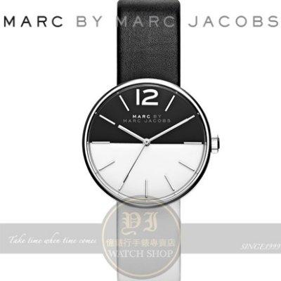 【南紡購物中心】MARC BY MARC JACOBS國際精品Peggy簡約時尚真皮腕錶-黑白/36mm MBM1366