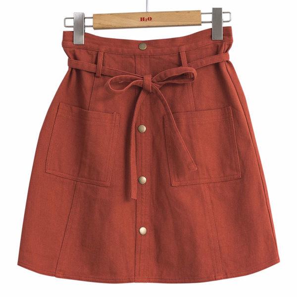 單一優惠價[H2O]撞色車線綁帶百搭膝上牛仔短裙 - 桔紅/藍/白色 #9682003
