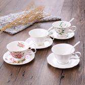 歐式陶瓷杯咖啡杯套裝創意骨瓷咖啡杯碟勺梗豆物語