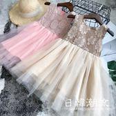 洋裝/裙子 童裝2019夏裝新品女童裝洋氣精致蕾絲拼接網紗公主連身裙4241
