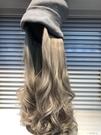 毛線帽子帶假發一體可拆卸女秋冬天款長發水波紋網紅時尚長卷發 一米陽光