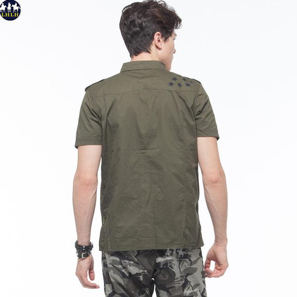 短袖修身襯衫男襯衫純棉 軍綠色